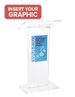 Transparent Podium has 11 X 17 Sign Holder