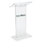 Vinyl Logo Transparent Podium with Cleaning Cloth