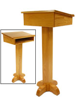 Lectern Speaker Stand with Storage & Clear Finish