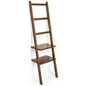 Minimalist Brown Leaning Ladder Rack Shelving