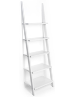 White Leaning Ladder Shelves with Rubber Feet