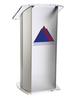 Frosted Plexiglass Podium with 2-Color Imprint, Silver