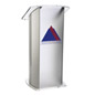 Frosted Plexiglass Podium with 2-Color Imprint, Aluminum