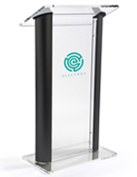 "48"" Tall Clear & Black Lectern"