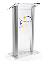 Custom Graphic Plexiglass Podium with 2-Color Vinyl Imprint