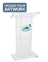 Custom Graphic Lucite Lectern, Floor Standing