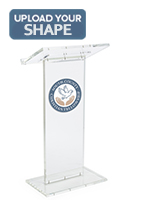 Custom printed podium plaque adds a professional look to your stand
