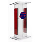 Clear Plexiglass Podium with Custom Graphic, Easy Assembly