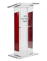 clear acrylic podium with logo