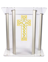 Acrylic Pulpit with Celtic Cross with Vinyl Printing