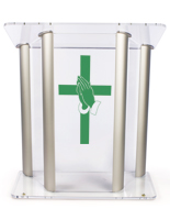 Clear, Wide Pulpit with Prayer Hands Cross