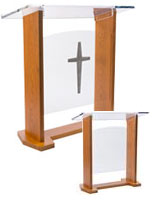 wide church podium has 2 front panels