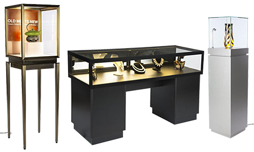 LED display cases in showcase, pedestal, and table styles