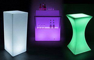 LED Light Up Tables and Bars with Seating
