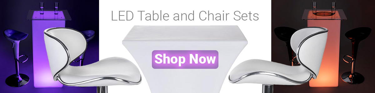 LED illuminated table and chair sets