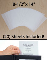 "(20) Sheets of 8-1/2"" x 14"" Frosted Film Paper"