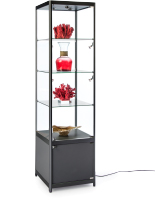 LED Tower Showcase with Tempered Glass
