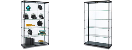Illuminated display case with locking glass doors