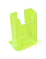 Vivid neon green plastic brochure holder