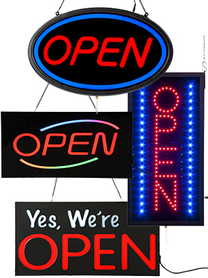 Lighted OPEN Signs