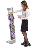 These literature stands are ideal for displaying magazines at a trade show.