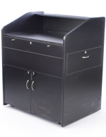 Multimedia lectern cabinet with black melamine finish