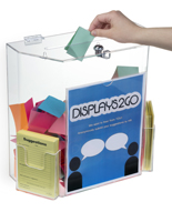 Clear Suggestion Box with Brochure Pockets & Hinged Lid