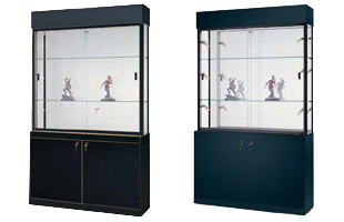 These collector display cases feature a locking cabinet for addtional storage space.