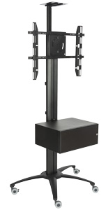 Aluminum Rolling TV Stand With Integrated Power Strip for Universities