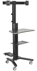 Multi-Monitor Standing Computer Cart, 3 Shelves