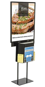 Black Sign Stand with Sweepstakes Box and Double Sided Poster Holder