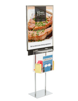 Silver Metal Floor Standing Poster with Ballot Box