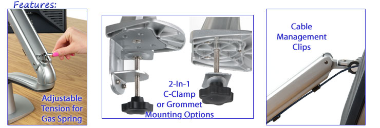 Gas Spring Desk Mount Features