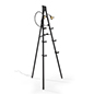 Illuminated gallery standing easel in anodized black aluminum