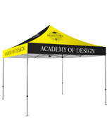 Custom printed canopy tent fully assembled.
