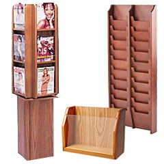 Magazine Holders with Warm Wood Finishes
