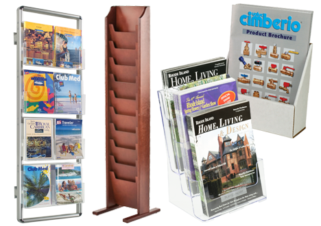 Literature display racks for magazines