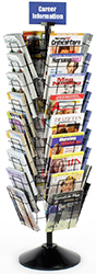 rotating literature floor stand with sign holder