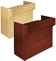 Cash counters in maple and mahogany