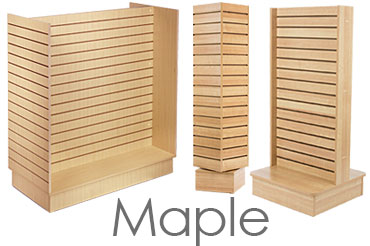 Slatted Retail Displays with Maple Finish