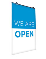 We are open hanging banner sign