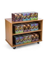 Maple nested store display shelves with wheels
