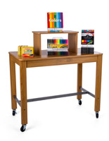 Maple retail table display with riser