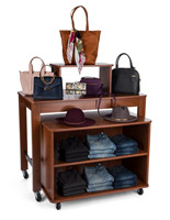 Brown nested table display shelves