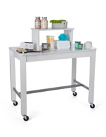 Rolling 2-tier white nesting display table