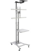 Silver Teleconference TV Stand with 4 Locking Caster Wheels