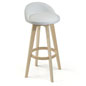 White Leather Barstool with Wood Base