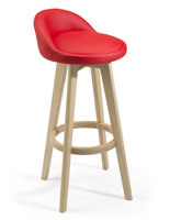 Modern Red Barstool with Backrest