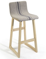 Fabric Barstool with Wood Base