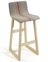 Chic Bar Stool with Orange Stripes